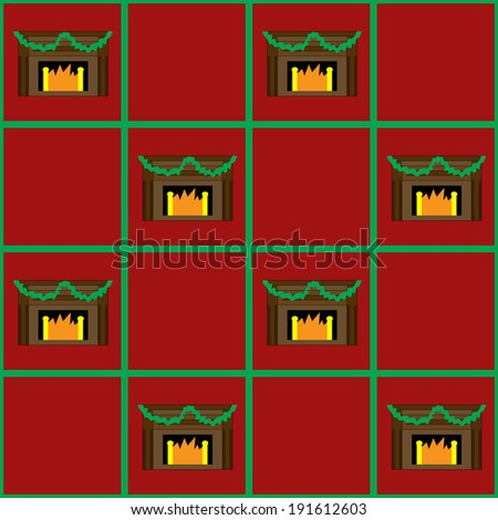 A seamless pattern of a Christmas fireplace;  use as a background or suitable for wrapping paper design - stock photo