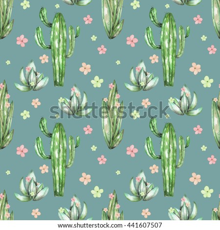 A seamless pattern with the watercolor various kinds of cactus and flowers, hand drawn on a vintage green background - stock photo