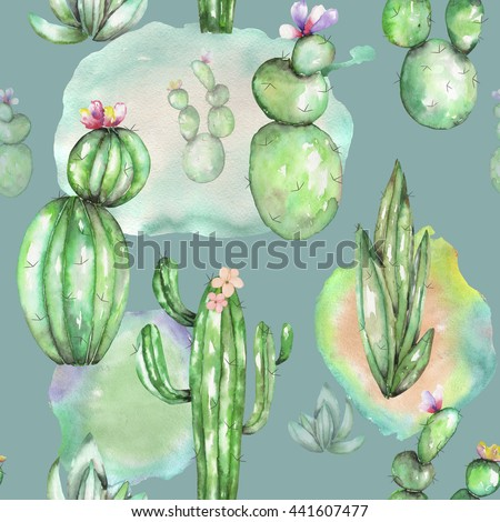 A seamless pattern with the watercolor various kinds of cactus, hand drawn on a vintage green background - stock photo