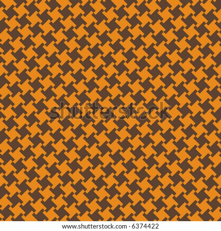 A seamless, repeating houndstooth pattern in orange and brown. Vector format also available. - stock photo
