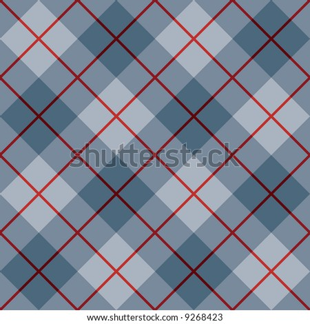 """A seamless 12"""" square plaid pattern in blues with a red stripe. - stock photo"""