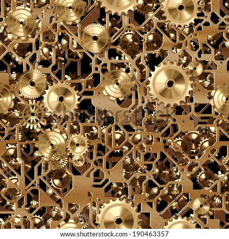 A seamless tile of brass cogs and gears similar to a clockwork. - stock photo