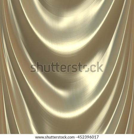 A seamless tile of gold fabric like a drape or curtain. - stock photo
