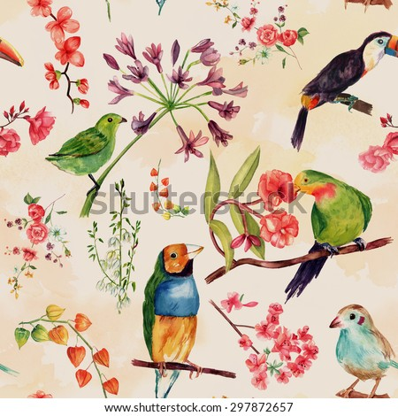 A seamless watercolor pattern of drawings of exotic birds and flowers, toned - stock photo