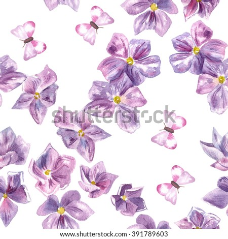 A seamless watercolor pattern with hand drawn watercolor purple flowers and butterflies - stock photo