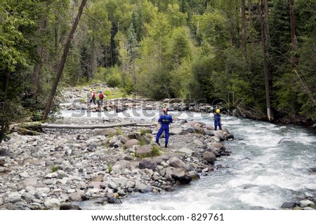 A search and rescue team on duty in the Rocky Mountains - stock photo