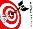 A search engine optimization arrow hits the target market SEO bulls eye - stock photo