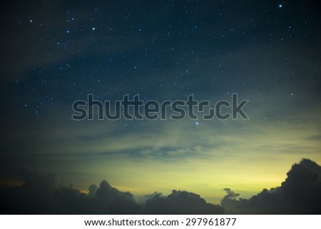 A section from the Milky Way and the Andromeda Galaxy - stock photo