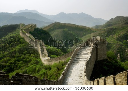 A section of The Great Wall of China, in Badaling. - stock photo