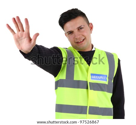A security guard, isolated on white - stock photo