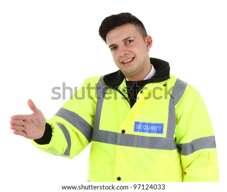 A security guard offering a handshake, isolated on white - stock photo