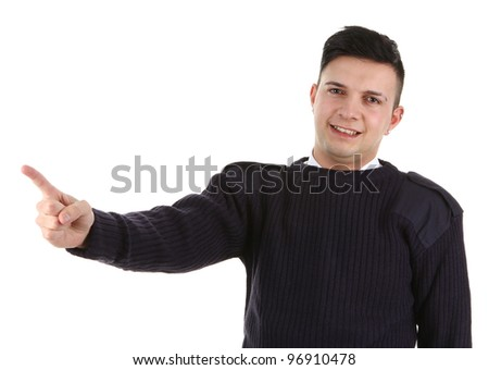 A security guard pointing in a direction, isolated in white - stock photo