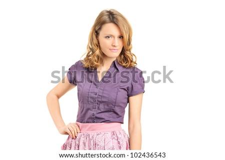 A seductive female posing isolated on white background - stock photo