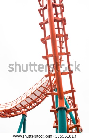 A segment of a roller coaster ,isolated - stock photo