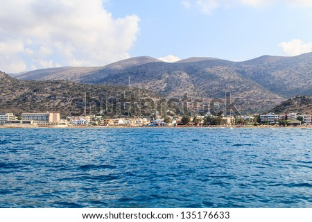A segment of Crete's coast near Stalis and Malia - stock photo