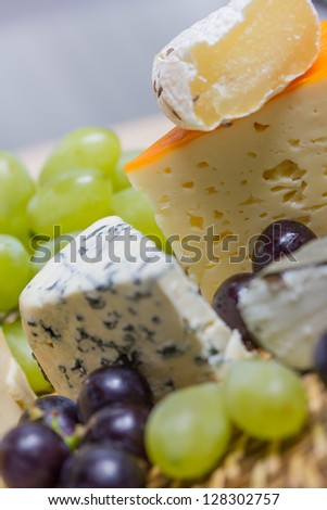 a selection of fine cheese - stock photo