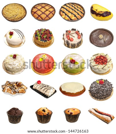 A selection of freshly baked cakes and tarts isolated on a white background. - stock photo