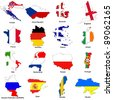 a selection of images showing the map shaped flags of all the competing countries of the 2012 european championship football tournament. - stock photo