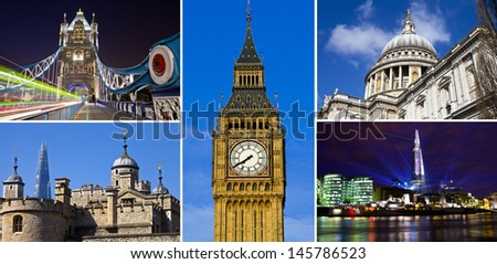 A selection of London's best-known landmarks. - stock photo