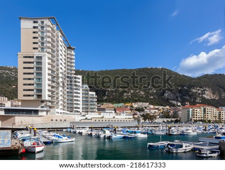 A selection of luxury yachts in the marina at Gibraltars Ocean Village - stock photo