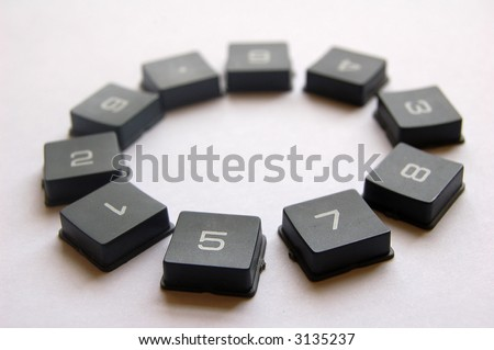 A selection of numbered buttons - stock photo