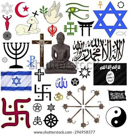 A selection of Religious Symbols for cut out - isolated on white. - stock photo