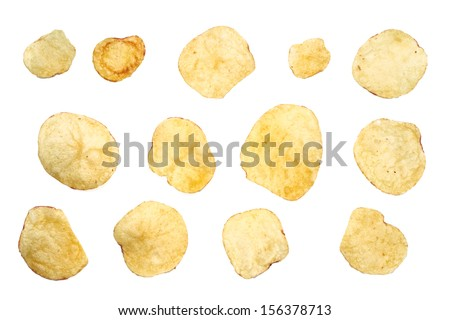 A selection of salted crisps on a white background. - stock photo