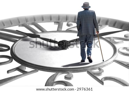 A senior walking on an enlarged clock depicting aging, retirement and time - stock photo