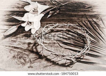 A sepia toned black and white image depicting Christian religious icons relating to Easter - the palm branch, the crown of thorns, and the white Lily.  Process for an aged vintage look.   - stock photo