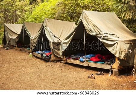 Scout camp stock photos images pictures shutterstock for Canvas platform tents