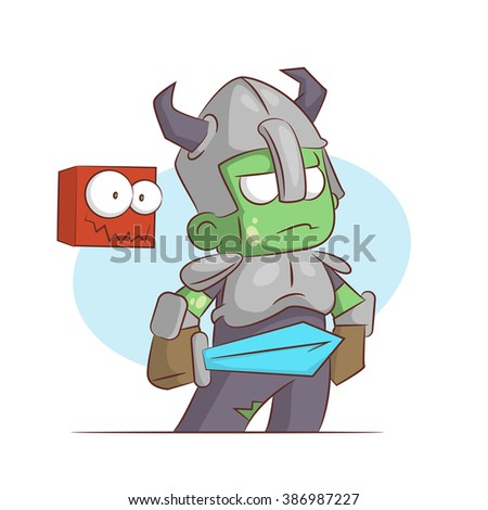 A series of characters on the theme of role-playing games. Vector illustration.Dark knight - stock photo