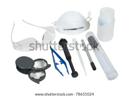A series of different forensic tools - path included - stock photo
