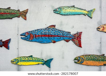 A series of different salmon species in colorful paint are posted on the plywood wall of a fish market in the San Juan Islands. - stock photo