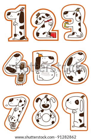 a series of doggy for a concept picture for number 1-9. can use for education, birthday, years old, anniversary. - stock photo