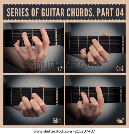 A series of guitar chords with symbols. Part 04 - stock photo