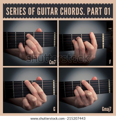 A series of guitar chords with symbols. Part 01 - stock photo