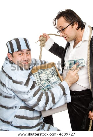 A series of pictures about swindlers and judges - stock photo