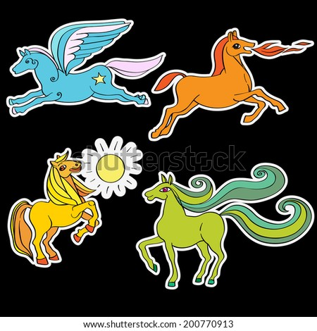 A series of toy horses stickers, hand drawn doodle illustrations of four happy baby animals, cartoons isolated on black - stock photo