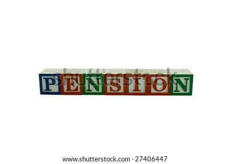 A series of Wooden Alphabet Blocks Spelling Pension - stock photo