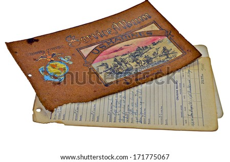 A service album and handwritten log from Camp Lejeune, NC, during WW II, 1940's. - stock photo
