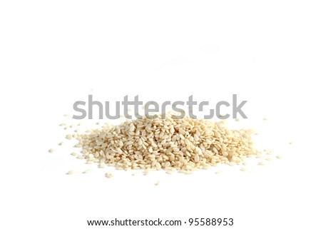 A sesame seeds on a white background - stock photo