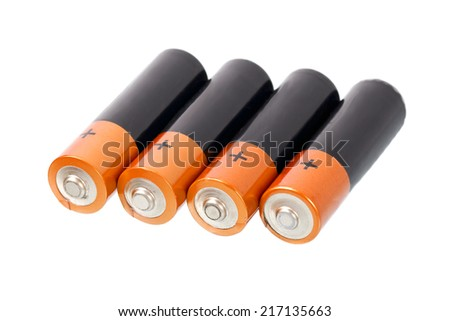 A set a of AA size batteries on white background - stock photo