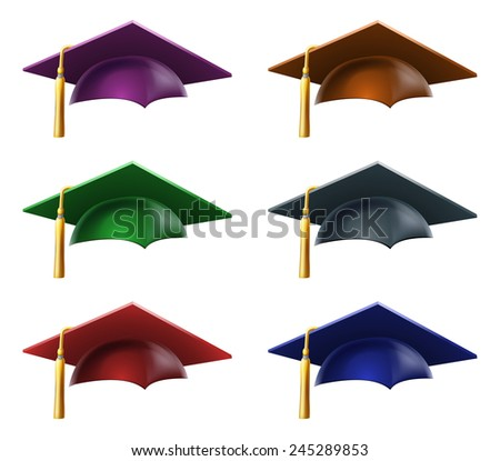 A set of a Graduation or convocation mortarboard hats or caps in different colors - stock photo