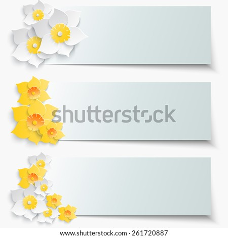 A set of banners with 3d yellow daffodils. Spring floral paper stickers.  - stock photo