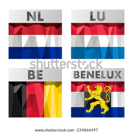 A set of Benelux countries flags in polygonal style. Netherlands, Luxembourg, Belgium and Benelux.  - stock photo