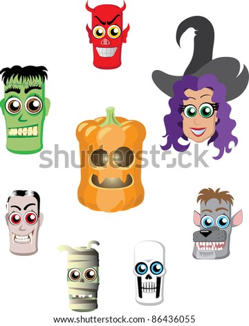 A set of characters in Halloween, heads, raster - stock photo