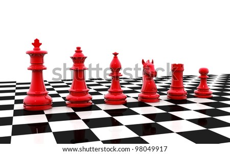 A set of chess pieces - stock photo