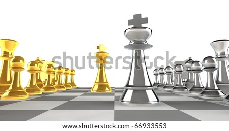 A set of chess pieces in gold and silver with focus on the king pieces - stock photo