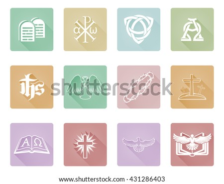 A set of Christian religious icons and symbols with Chi Rho, angel, alpha omega and more - stock photo