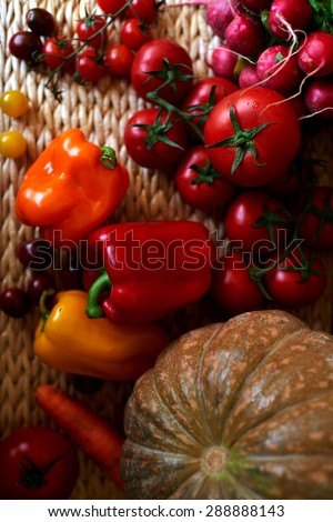 A set of colorful seasonal vegetables, Vegetables red light lay in a wicker basket, Ripe tomatoes, peppers, radishes, squash, carrots harvested from the garden - stock photo